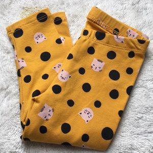 Cat & Jack golden leggings cats & black polka dots